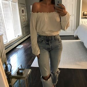 H&M off white off the shoulder top shirt small